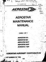 1. Aerostar Maintenance Manual Introduction and Table of Contents