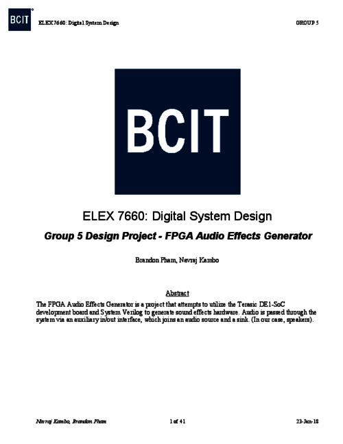 FPGA audio effects generator | BCIT Institutional Repository