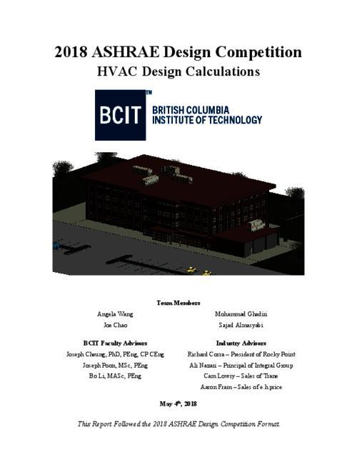2018 ASHRAE Design Competition   BCIT Institutional Repository